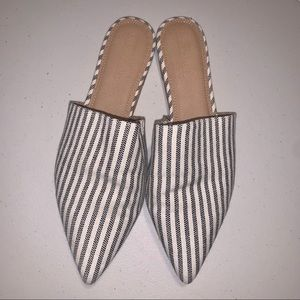 ASOS Fabric Pin Stripe Slip On Mules - Size 9